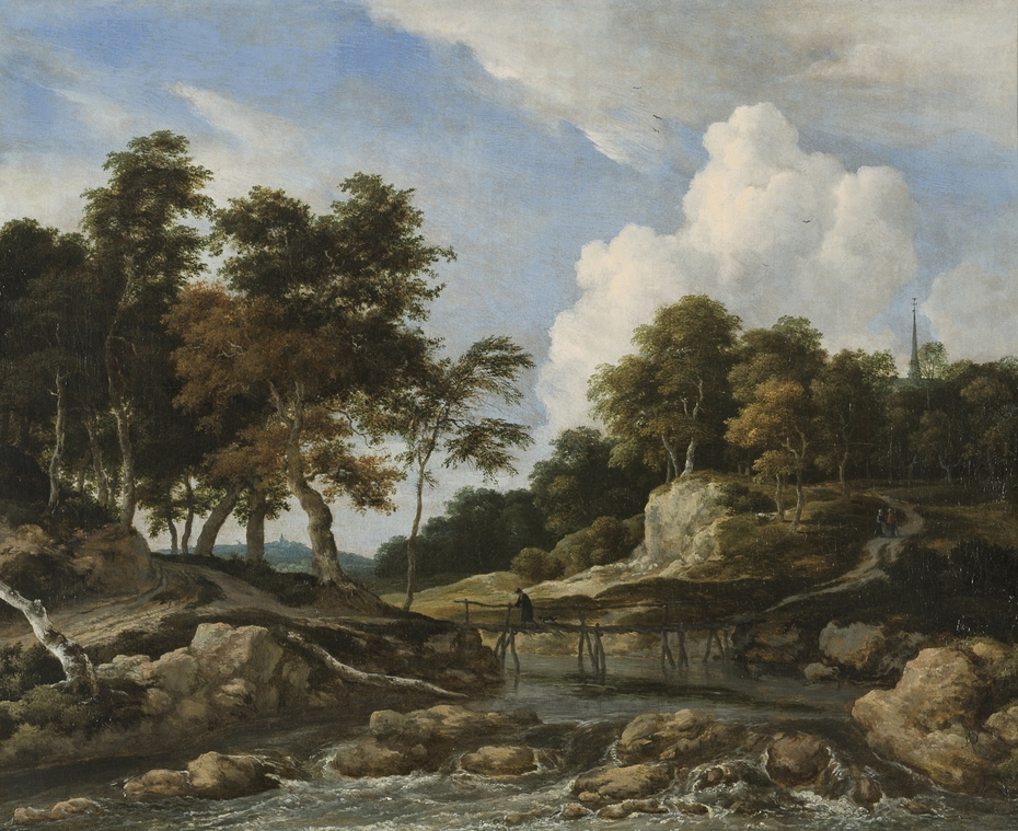 Wooded River Landscape with Bridge
