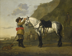 A Cavalry Trooper Decorating his Dappled Grey Horse with a Reclining Spaniel at his Feet