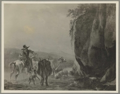 A horseman with two cows and sheep crossing a ford