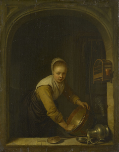 A Maidservant Scouring a Brass Pan at a Window