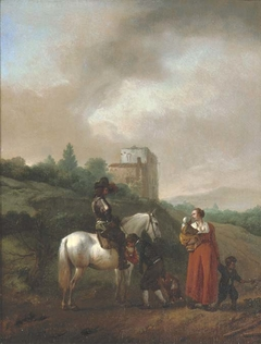 A man on a white horse conversing with a woman and children on a track