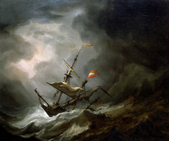 A Mediterranean Brigantine Drifting Onto a Rocky Coast in a Storm