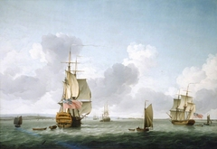 A two-decker and a frigate running Into the Thames off Gravesend