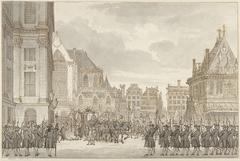 Aankomst van Prins Willem V en Frederica Sophia Wilhelmina van Pruisen bij het Stadhuis op de Dam te Amsterdam, 30 mei 1768