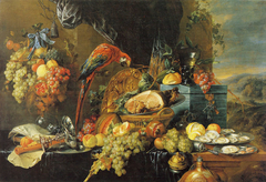 Abundant Still Life with a Parrot