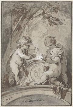 Allegorie met drie putti bij een altaar