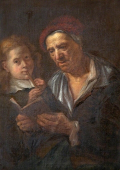 An Old Man with an Open Book and a Child playing the Flute
