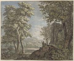Arcadisch landschap met antiek bouwval en twee mannen