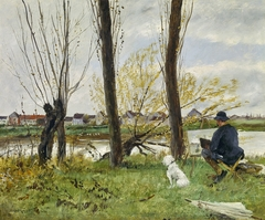 Artist Sketching on the Banks of the Oise