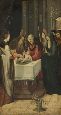 Circumcision of Christ, Left Wing of an Altarpiece, on verso is the Virgin from an Annunciation scene