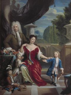 Cornelis van Schuylenburch (1683-1763) met zijn vrouw Martha Catharina Kemp (1694-1729) en hun drie kinderen Willem (1717-1769), Pieter (1718-1786) en Anthonetta (1722-1786)