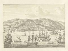 De Nederlandse vloot voor de kust van een vreemd land