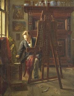 De schilder George Jan Hendrik Poggenbeek (1854-1903) in zijn atelier