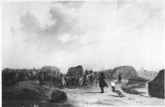 """De Schutterij uit Amsterdam en Weesp, de lunet """"De Halve Maan"""" aan de Karnemelksloot bij Naarden verdedigd tegen de Fransen"""