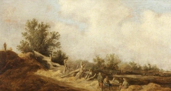 Dune Landscape with Three Figures by a Dilapidated Wooden Fence