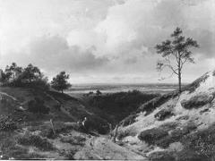 Een Gelders landschap, op de voorgrond een rustende boerin