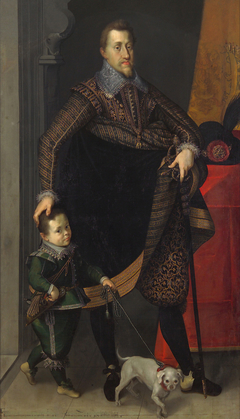 Emperor Ferdinand II (1578-1637) in Full Figure with a Court Dwarf
