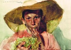 Enfant mangeant des raisins