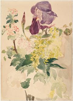 Flower Piece with Iris, Laburnum, and Geranium