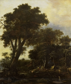 Forest landscape with lean-to
