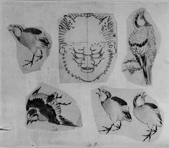 Four sketches of birds and one design for a grotesque mask, mounted together