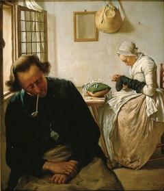 Interieur met slapende man en kousenstoppende vrouw