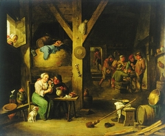 Interior of a tavern with woman smoking and man offering her a drink with an old woman looking on