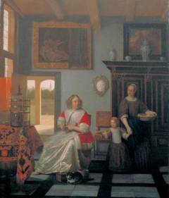 Interior with a woman knitting and a maid with a girl