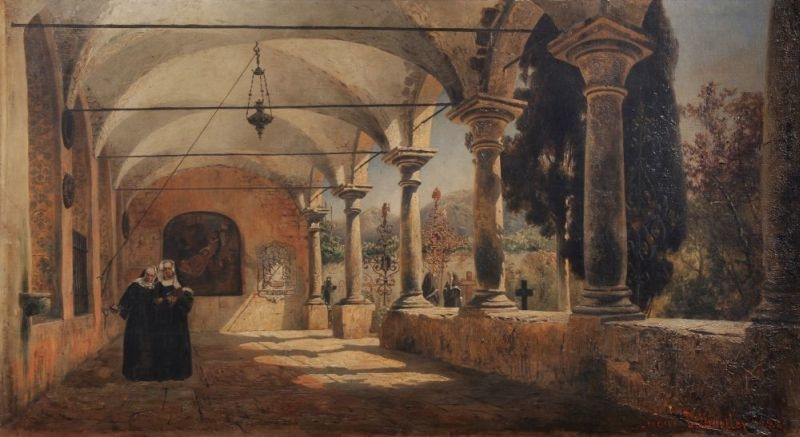 Italianate Cloister with Nuns