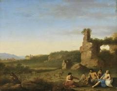 Italienische Landschaft mit Ruinen und Staffage