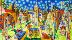 jaffa tel aviv the clock naive art paintings folk urban landscape painting by israeli painter raphael perez