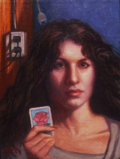 """La Rosa"" by Lydia Martin (12""x9"") oil on Belgian linen/ Lotería series"