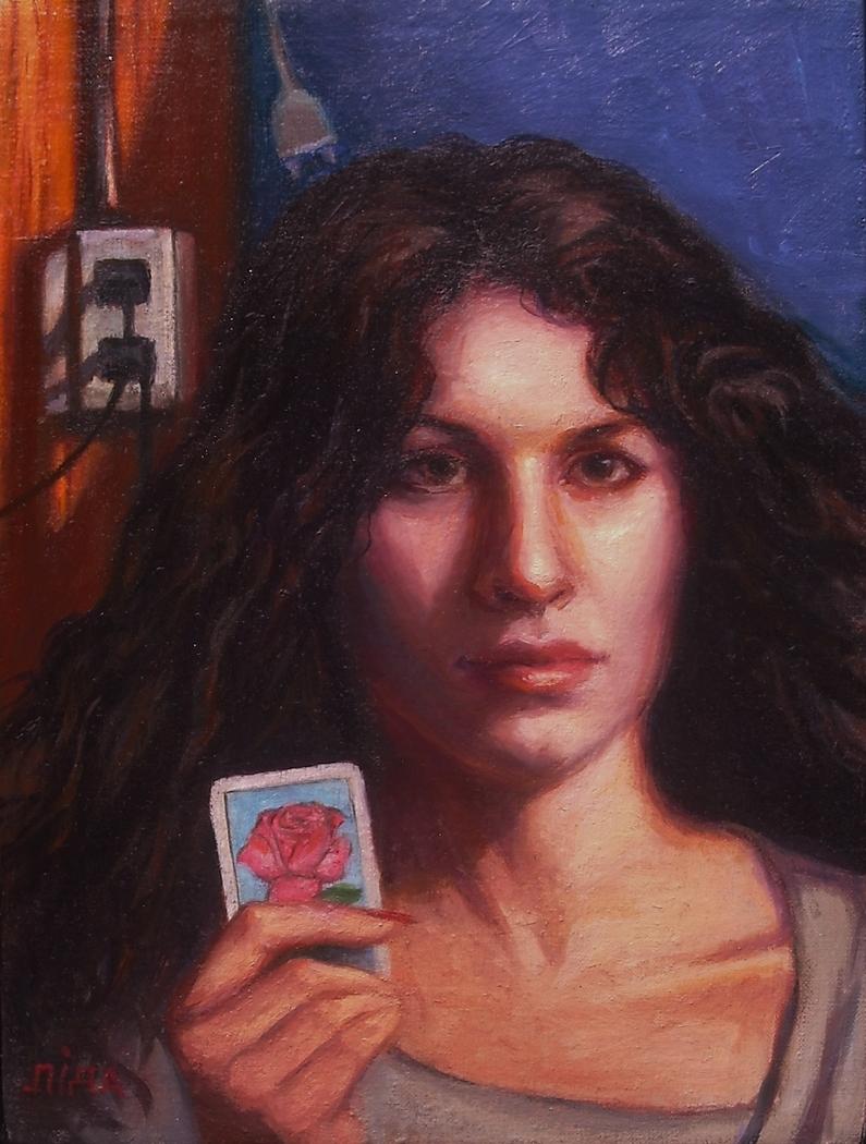 """La Rosa"" by Lydia Martin© (12""x9"") oil on Belgian linen/ Lotería series"