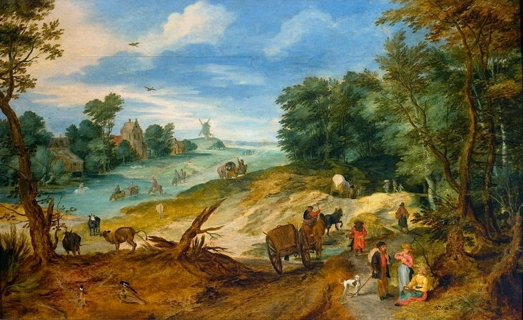 Landscape with travellers and cattle