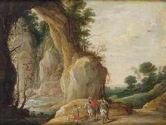 Landschaft mit Felsboden und zwei Reitern