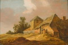 Landschap met boerderij en hooiberg