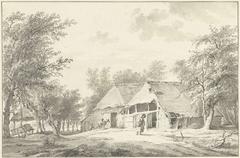 Landschap met boerderij en vrouw met mand