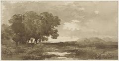 Landschap met links bomengroep