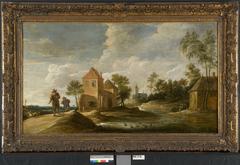 Landschap met twee reizigers en verschillende huizen langs een rivier