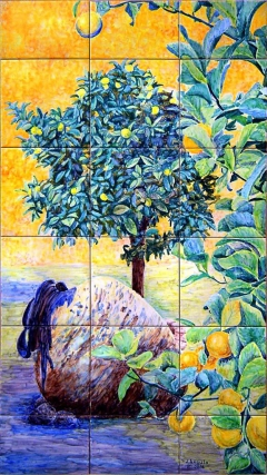 Lemon tree, orange tree and crock