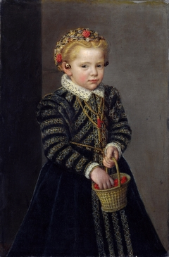 Little Girl with a Basket of Cherries
