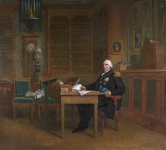 Louis XVIII aux Tuileries méditant sur la charte qu'il va donner aux Français en 1814