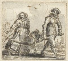 Man en een vrouw dragen huisraad op een berrie