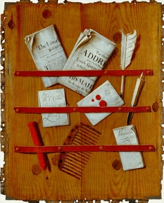 Newspapers, Letters and Writing Implements on a Wooden Board