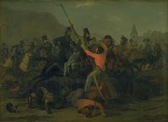 Oberst Boncke Bönnichsens fald den 6. december 1813 under en fægtning mellem jyske dragoner og kosakker
