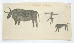 Os of buffel en een kleiner hondachtig dier, met een springend of dansend figuurtje