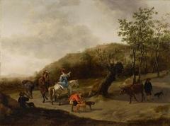 Paysage avec chasseurs et paysans