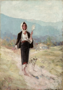 Peasant women with distaff