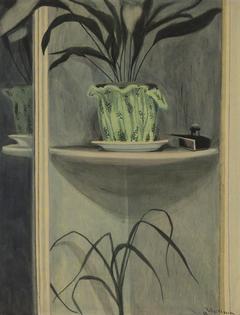 Planten, inktpot en spiegel