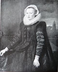 Portrait of a lady with a landscape background